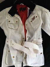 Ladies Barbour Jacket / Coat Size 14 Nylon Union Jack Style White
