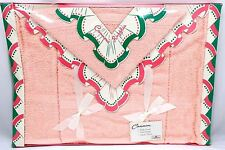 VTG 1950's 3 PC MIB Cannon Towel Set Cannons Ruffle Pink Terry Cloth GLAMPING