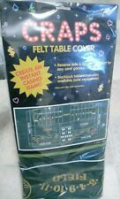 """Craps Dice Green Casino Gaming Table Felt Layout Reverse Side is Blank 6'-4"""""""