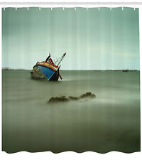 """Vintage Shower Curtain Abandoned Fishing Boat Print for Bathroom 84"""" Extralong"""