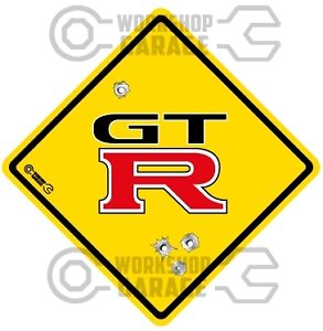 GTR - RED - BLACK TEXT  - Bullet Hole Road Sign Sticker #55