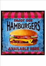 American Vintage Style Diner Sign Cafe Sign Hamburgers Retro Style  Kitchen Sign
