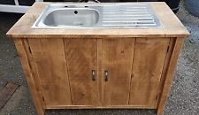 SOLID WOOD RUSTIC CHUNKY PLANK KITCHEN SINK UNIT WOODEN CUPBOARD *MADE TO ORDER*