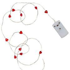 Draht Lichterkette String mit rote Herzen 12er LEDs Länge 110cm mit Batterie