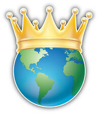 Earth Golden Crown Car Bumper Sticker Decal 4'' x 5''