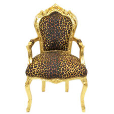 CHAIRS FRANCE BAROQUE STYLE DINING ROYAL CHAIR WITH ARMRESTS GOLD/PANTHER #70F31