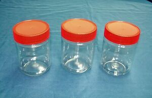 12 or 17 oz Clear PET Plastic Peanut Butter Jars w/ Red Ribbed Lined Caps