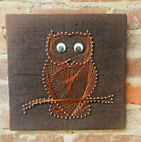 """Vintage Nail Wire String Owl Wall Art Mid Century Groovy 70s Retro Burlap 12"""""""