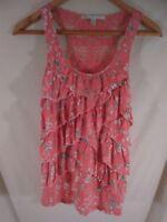 LC Lauren Conrad XS Pink Crochet Floral Rayon Ruffled Tank Top