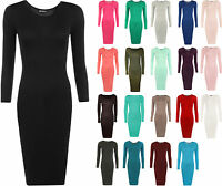 New Womens Bodycon Stretch Plain Long Sleeve Ladies Round Neck Midi Dress 8 - 14