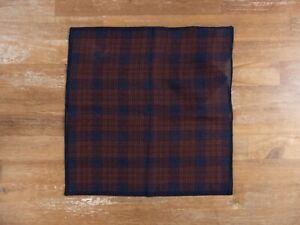 ERMENGILDO ZEGNA plaid 100% wool pocket square authentic