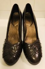 Hushpuppies Womens High Heels Brown Leather Sz 8 Rubber Soles Comfortable Retro