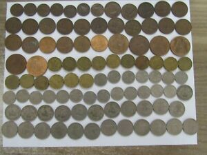 Lot of 156 Different Obsolete Great Britain Coins - 1943 to 1988 - Circulated
