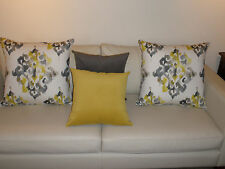Gray & Mustard Yellow Soft Plush Velvet  Cushion Covers 45cm Au Made