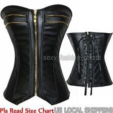 Women's Fashion Black Faux Leather Zipper Lace Up Corset Top Bustier Shaperwear