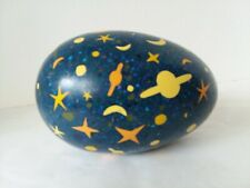"Large Blue Yellow Orange Stone Egg Figurine Moon Stars Planets 6"" x 4"""