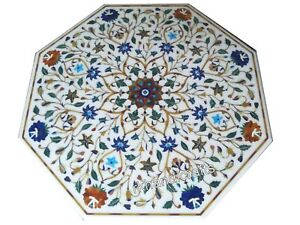Handmade Floral Design Coffee Table Octagon Marble Center Table Size 27 Inches
