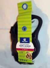 TOP PAW ~ RETRACTABLE TAPE LEASH ~ 10 FEET ~ X SMALL  UP to 20 POUNDS~ BLACK