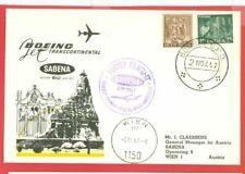 India 2 diff SABENA  Flight cover to Austria & Tehr