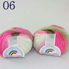 Sale Colorful Rainbow Scarf Shawl Cashmere Wool Hand Knit Yarn 2 Skeins x50g 06