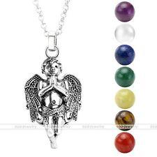 Silvery Angel Child 7 Chakra Gemstone Ball Bead Locket Cage Pendant Necklace Set