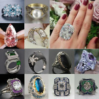 Women 925 Silver White Sapphire Emerald Gems Ring Wedding Party Jewelry Sz 6-10