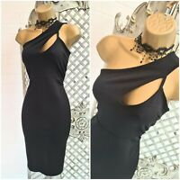 QUIZ UK 10 New Sexy Black One Shoulder Cut Out Stretch Wiggle Pencil Dress