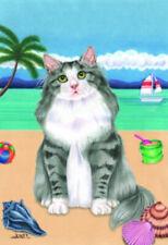 Beach Garden Flag - Grey and White Norwegian Forest Cat 640051