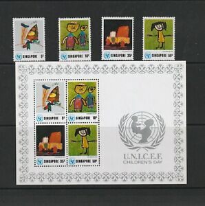 SINGAPORE 1974 CHILDRENS DAY SET & MS MNH SUPERB