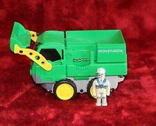 Rokenbok Car RC Green Classic Loader Dump Truck Vehicles Man Mini Figure Garbage