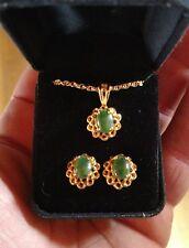 Stunning vintage Goldtone and jade necklace and earrings set estate find