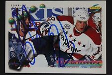 Randy Burridge Capitals Autographed 1994 Pinnacle Score #90 Hockey Card JSA 16H