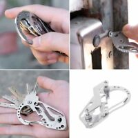 Multifunction EDC Keychain Case Carabiner Outdoor Tool Key Organizer Holder Clip