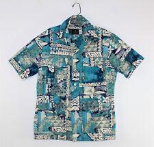 Vintage 70's Men's Iolani Geometric Print Bark Cloth Hawaiian Camp Shirt Size M