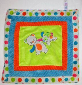 MARY MEYERS Baby Bear Puppy Dog Lovey Security Blanket Orange Grey Satin EUC