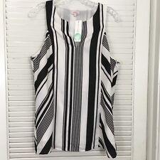 Stitch Fix Pixley Dunn V-Neck Blouse Sleeveless Split Neck Black White Stripe L