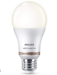 """""""2"""" Philips Dimmable WiFi LED Smart Bulb A19 In Soft White WiZ Connected"""