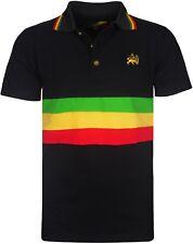 Men's Rasta Polo Bold Striped T Shirt Short Sleeves With Lion Of Judah Logo