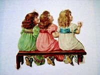 Sweet Vintage Die Cut of Three Young Girls Sitting on a Bench Looking Up *