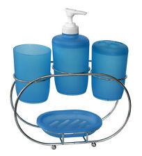 Set salle de bain en PLASTIQUE Bleu 4 piéces + support chromé savon verre