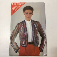 See & Sew 3860 Size 14 16 18 Misses' Jacket