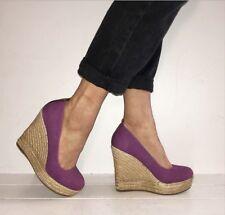 ALDO Purple Canvas Round Toe Espadrille Platform Wedges Size 5 / 38