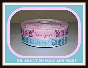7/8 INCH IT'S A BOY OR IT'S A GIRL WITH CLOTHES LINE GROSGRAIN RIBBON- 1 YARD