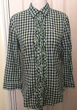 Hollister Women Green and Navy Ruffle 100% Cotton 3/4 Sleeve Shirt M