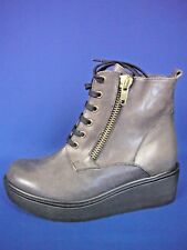 PAOLA FERRI ITALY Soft Gray Leather NEW Lace-up Ankle Boots