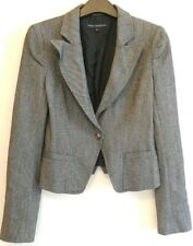 French Connection Womens Jacket Blazer Virgin Wool Blend Button Grey Size 6
