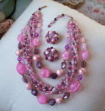 Vintage Pink/Purple Glass Bead Necklace & Earring Set Signed W.Germany