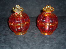 "ELEGANT PAIR OF VINTAGE PRESSED GLASS ""CANDY DISHES"" IN PRISTINE CONDITION"