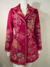 PAPARAZZI pomegranate Red Wool Blend Floral Embroidered Coat Jacket Sz S