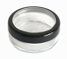 3 x 20ml THICK WALL Empty Small Plastic SIFTER JAR Black Rim Makeup/Balm/Travel